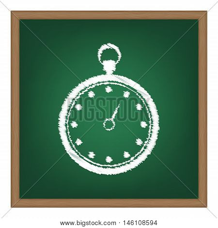 Stopwatch Sign Illustration. White Chalk Effect On Green School Board.