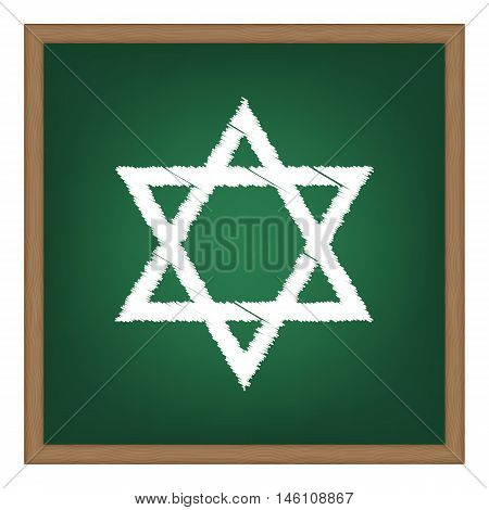 Shield Magen David Star. Symbol Of Israel. White Chalk Effect On Green School Board.