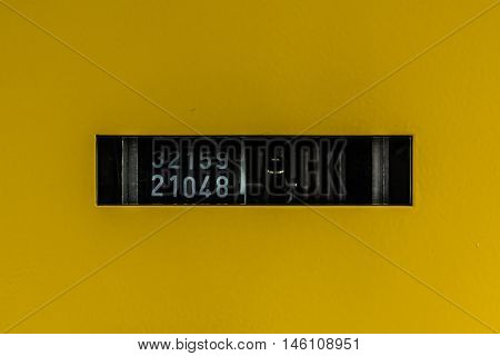Abstract Yellow Ticket Counter Thousands Automatic Black White Mechanical