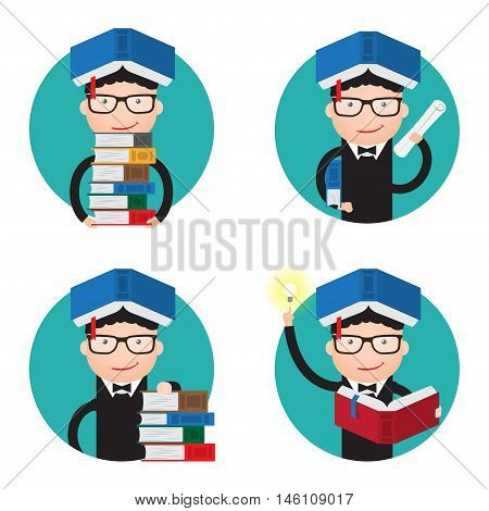 set of icons about the University. A stack of books, certificate, oath, a new idea.
