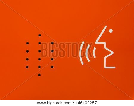 Bright Orange Abstract Diagram Speaker Emergency Contract Device