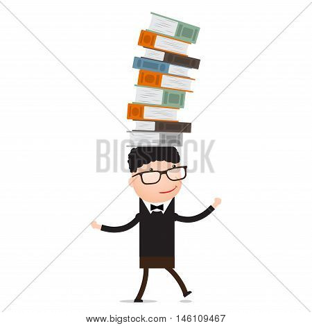 Boy playing with the books holds the balance