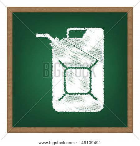 Jerrycan Oil Sign. Jerry Can Oil Sign. White Chalk Effect On Green School Board.