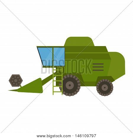 Agricultural combine vehicle and harvester machine, combine and excavator. Agricultural combine harvester machine with accessories for plowing, mowing, planting and harvesting.