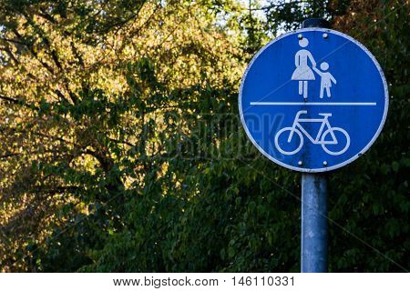 Pedestrian Walking Zone Sign Mother Bicycle Blue Traffic European
