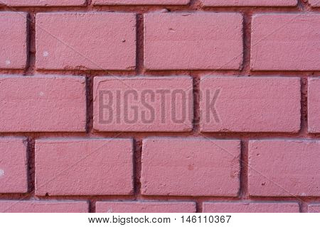 Pink Red Painted Brick Wall Texture Background