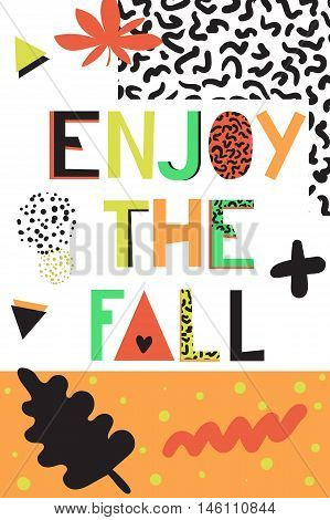Decorative autumn postcard in the style of 80's. Lettering