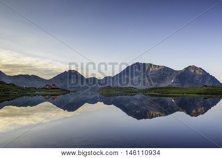 Panoramic view of Kamenitsa Peak And Tevno lake Pirin Mountain in Bulgaria
