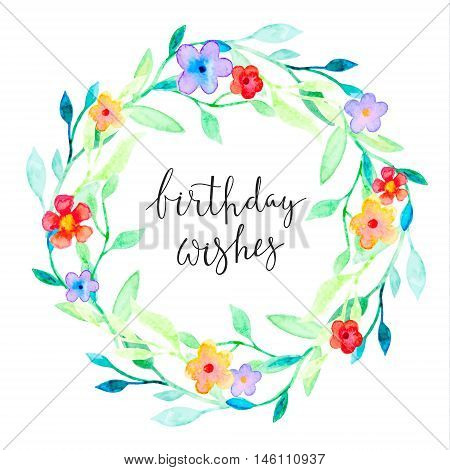 Greeting card with a floral frame and hand-written text
