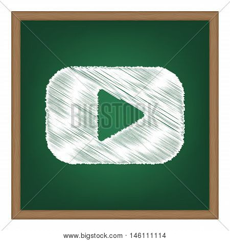 Play Button Sign. White Chalk Effect On Green School Board.
