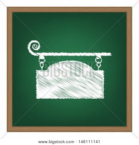 Wrought Iron Sign For Old-fashioned Design. White Chalk Effect On Green School Board.