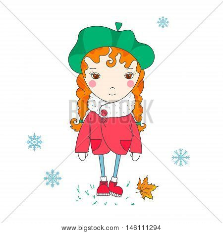 Sweet girl in a coat and beret. Winter season. Hand-drowing vector illustration.