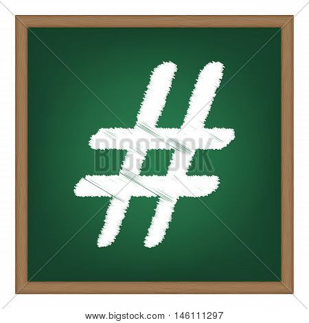 Hashtag Sign Illustration. White Chalk Effect On Green School Board.