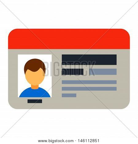 Car driver license identification with photo isolated, driver license vehicle identity vector. Driving national standard license flat vector illustration. Nationsl driver card license