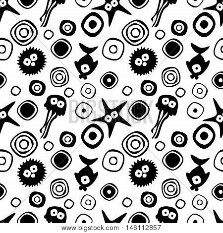 Vector seamless decorative pattern with hand drawn fish starfish octopus. Endless black and white background. Template for wrapping fabric cover. Series of hand drawn decorative seamless patterns.