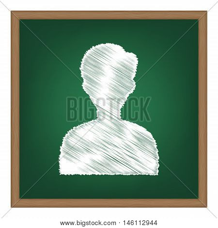 User Avatar Illustration. Anonymous Sign. White Chalk Effect On Green School Board.