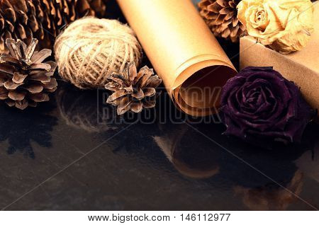 Natural Items Collection For Handcraft (paper, Pine And Spruce Cones, Jute, Cardboard Box, Dried Flo