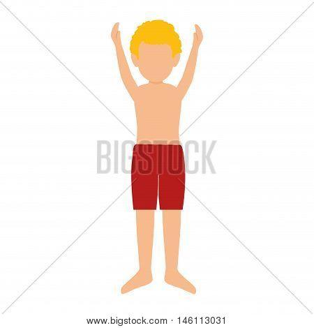 avatar little blonde boy wearing red swimsuit pants. vector illustration