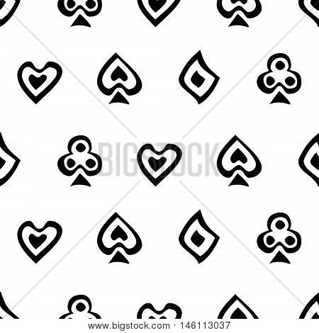 Seamless vector pattern with icons of playings cards. Background with black and white hand drawn symbols. Decorative repeating ornament. Series of Gaming and Gambling Seamless Patterns.