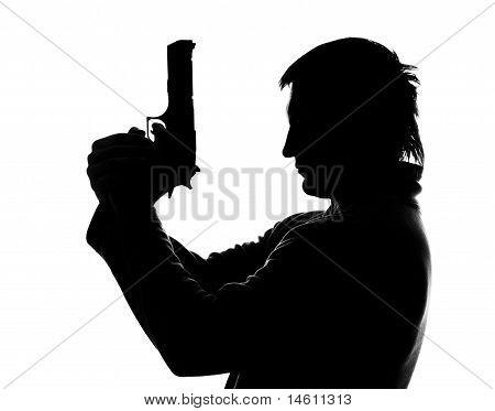 Silhueta de homem de tiro