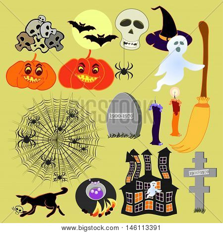 Set For Halloween Haunted House, Witch Hat, Spider, Pumpkin. Vector Illustration