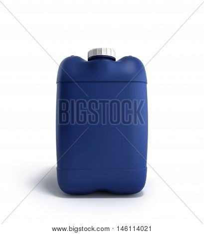 Blue Plastic Jerrycan 3D Illustration On A White