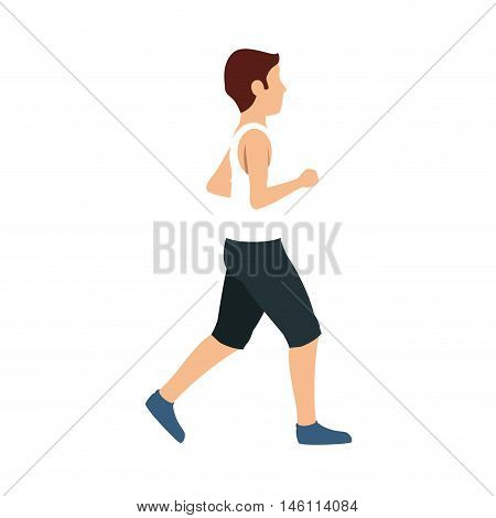 man with skinny body and wearing short pants cartoon. vector illustration