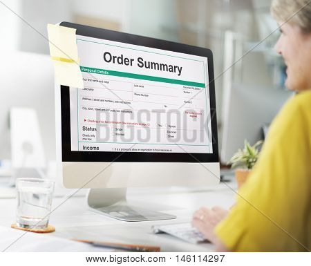 Order Summary Payslip Purchase Order Form Concept
