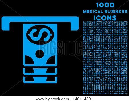 Banknotes Withdraw raster icon with 1000 medical business icons. Set style is flat pictograms, blue color, black background.