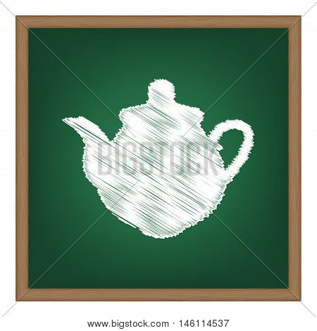 Tea Maker Kitchen Sign. White Chalk Effect On Green School Board.