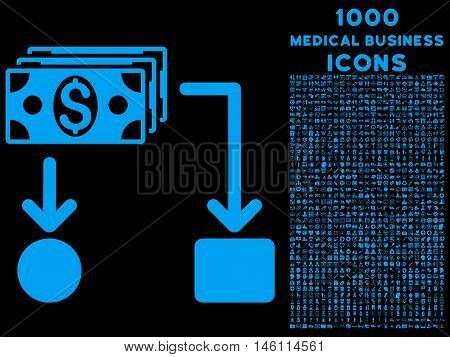 Cashflow raster icon with 1000 medical business icons. Set style is flat pictograms, blue color, black background.