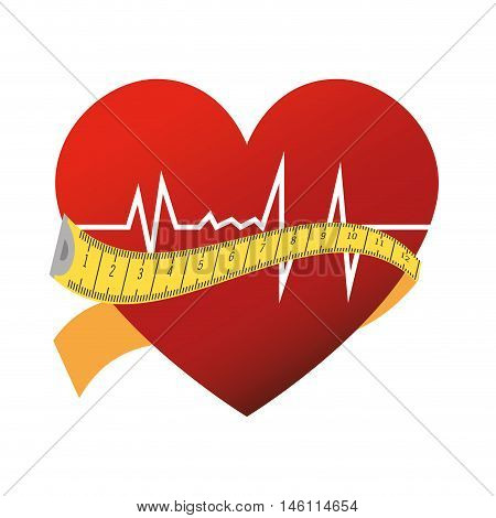 heart cardiogram rhythm with measurement tape. silhouette vector illustration