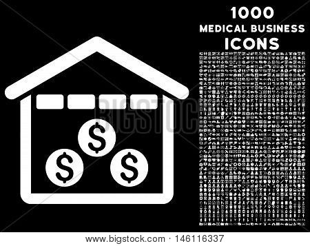 Money Depository raster icon with 1000 medical business icons. Set style is flat pictograms, white color, black background.