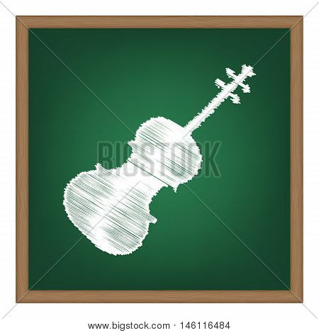 Violine Sign Illustration. White Chalk Effect On Green School Board.