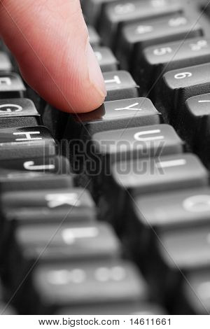 """Finger Pressing """"y"""" Key"""