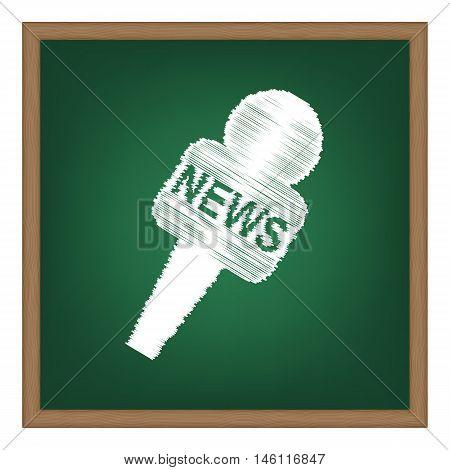 Tv News Microphone Sign Illustration. White Chalk Effect On Green School Board.