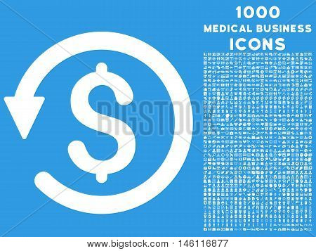 Chargeback raster icon with 1000 medical business icons. Set style is flat pictograms, white color, blue background.