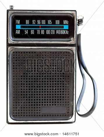 Vintage Black Portable Transistor Radio Isolated On White Background