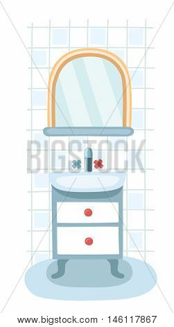 Elements for modern bathroom. Mirror, shelf and sink. Interior, under sink locker on on vintage legs. Sanitary Ware Objects