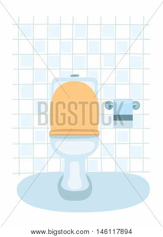 Vector cartoon illustration of toilet pan and toilet paper holder on tiled wall