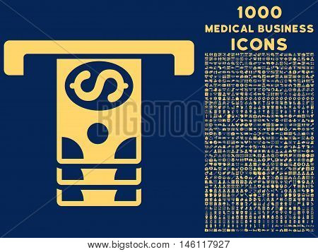 Banknotes Withdraw raster icon with 1000 medical business icons. Set style is flat pictograms, yellow color, blue background.