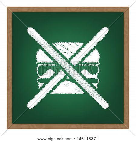 No Burger Sign. White Chalk Effect On Green School Board.
