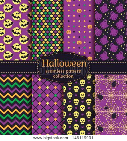 Happy Halloween! Set of seamless backgrounds with bats pumpkins skulls spiders web ghosts and abstract geometric patterns. Vector collection in black yellow orange green and purple colors.