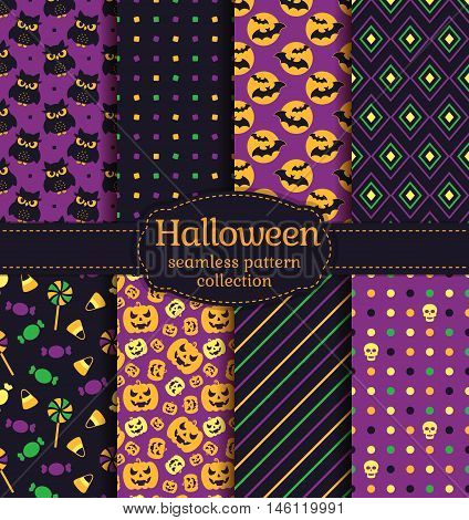 Happy Halloween! Set of seamless backgrounds with bats pumpkins skulls candies gloomy owls and abstract geometric patterns. Vector collection in black yellow orange green and purple colors.
