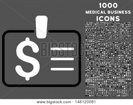 Dollar Badge raster bicolor icon with 1000 medical business icons. Set style is flat pictograms, black and white colors, gray background.
