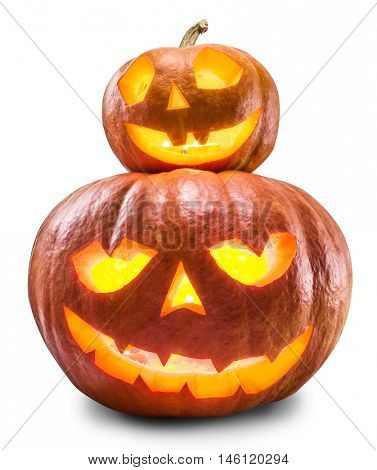 Grinning pumpkin lantern or jack-o'-lantern is one of the symbols of Halloween. Halloween attribute. Clipping path.