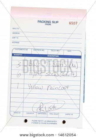 Packing Slip Invoice Pad Clothing List