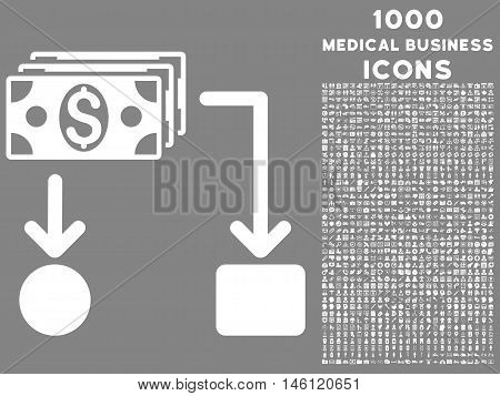 Cashflow raster icon with 1000 medical business icons. Set style is flat pictograms, white color, gray background.