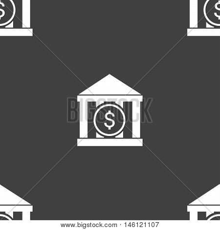 Bank Vector Icon Sign. Seamless Pattern On A Gray Background. Vector