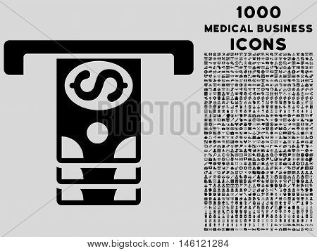 Banknotes Withdraw raster icon with 1000 medical business icons. Set style is flat pictograms, black color, light gray background.